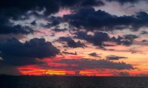 Beautiful sunset from the west side of the island